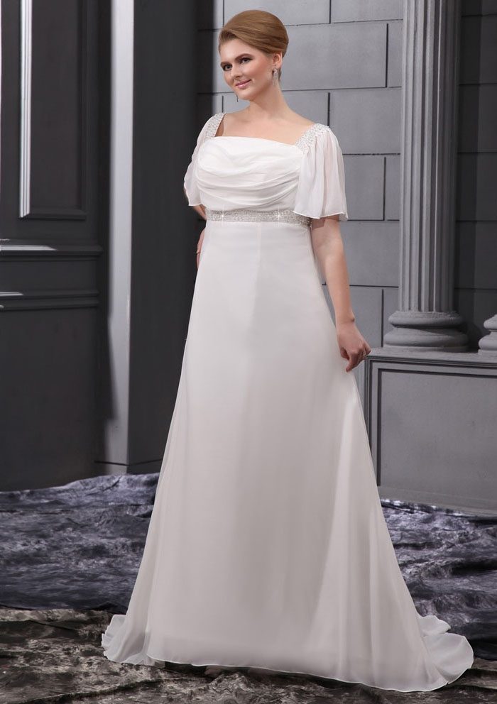 Plus size wedding dresses with sleeves dressed up girl for Plus size short wedding dresses with sleeves