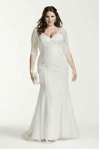 Plus size wedding dresses with sleeves dressed up girl for Plus size trumpet wedding dress with sleeves