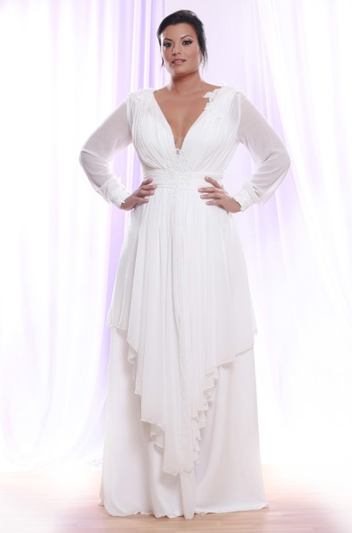 Plus size wedding dresses with sleeves dressed up girl for Long sleeve plus size wedding dress