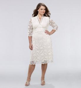 Plus Size White Lace Dress with Sleeves