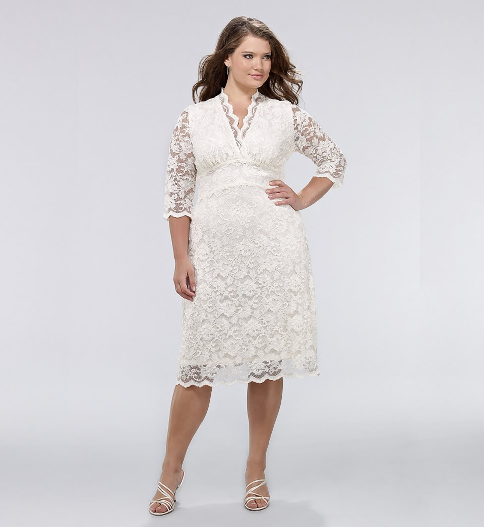 Plus size dresses with sleeves dressed up girl for Plus size lace wedding dresses with sleeves