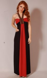 Red and Black Maxi Dress