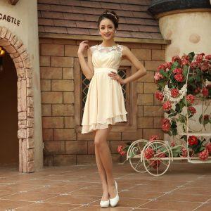 Short Champagne Wedding Dress
