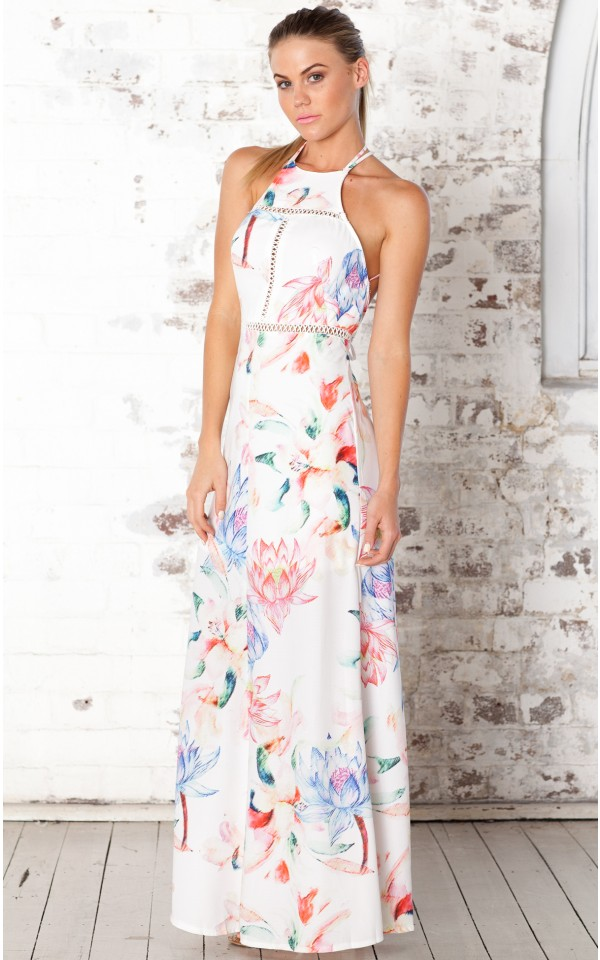 Images of White Floral Maxi Dress - Klarosa