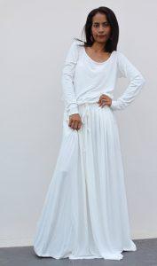 White Long Sleeve Maxi Dress