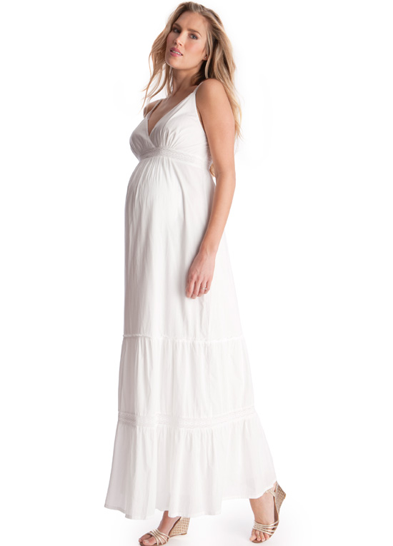 White Maternity Maxi Dress | Dressed Up Girl