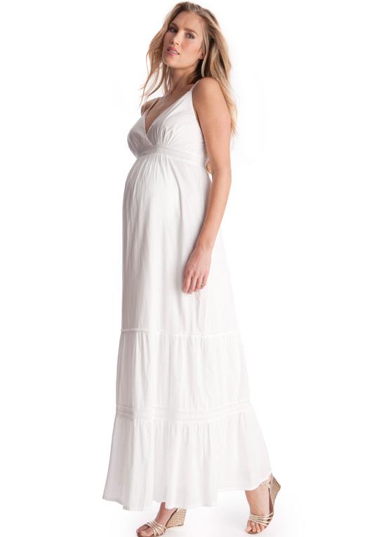 White Maternity Maxi Dress Dressedupgirl Com