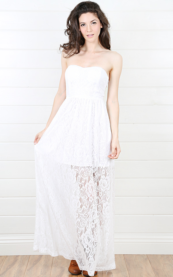 White Lace Maxi Dress | Dressed Up Girl