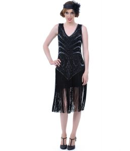 Black 1920s Drop Waist Dress