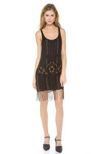 Black Beaded Drop Waist Dress