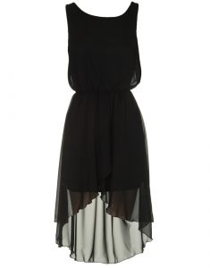 Black Chiffon High Low Dress