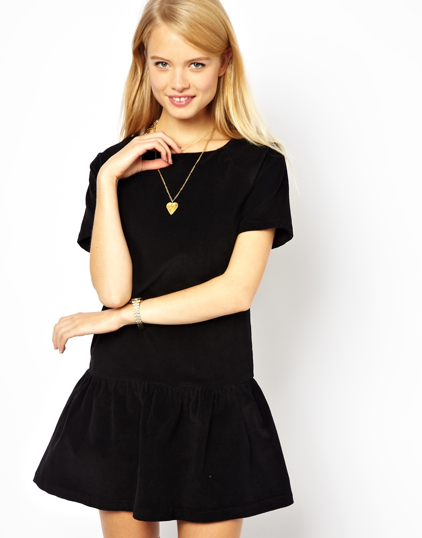 Drop waist black cocktail dress