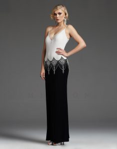 Black and White Drop Waist Prom Dress