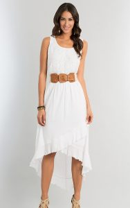 Casual White High Low Dress