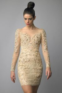 Champagne Cocktail Dress with Sleeves