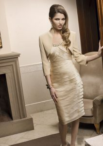 Champagne Mother of the Bride Dresses Tea Length