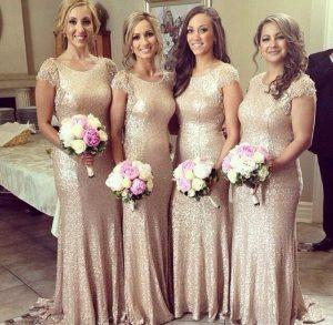 Champagne Sequin Bridesmaid Dress