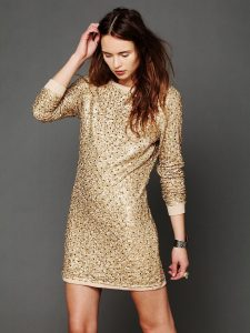 Champagne Sequin Dress with Sleeves