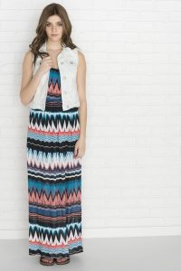 Coral Chevron Maxi Dress