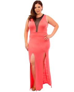 Coral Maxi Dress Plus Size