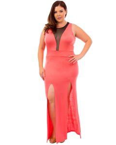 Coral Maxi Dress Plus Size