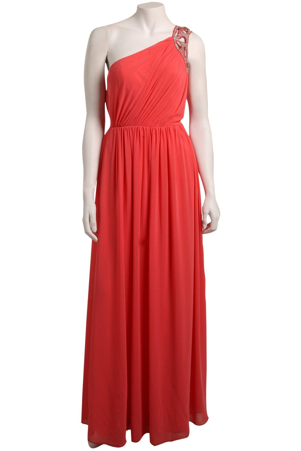 Women's Coral Embroidered Off Shoulder Maxi Dress (Short Inseam Now Available) in rapture rose made of jersey. This spring dress or summer dress is perfect for Easter, to wear as a wedding guest, for graduation, and for every day.