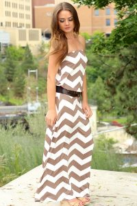 Drop Waist Chevron Maxi Dress