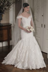 Drop Waist Wedding Dress with Sleeves