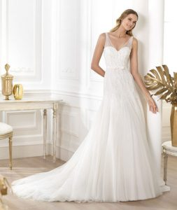Drop Waist Wedding Dress with Straps