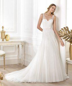 Drop Waist Wedding Dress with Straps