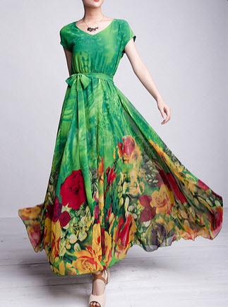 d34ba5e5b12b4 Green Floral Maxi Dress