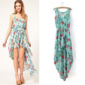 High Low Chiffon Floral Dress