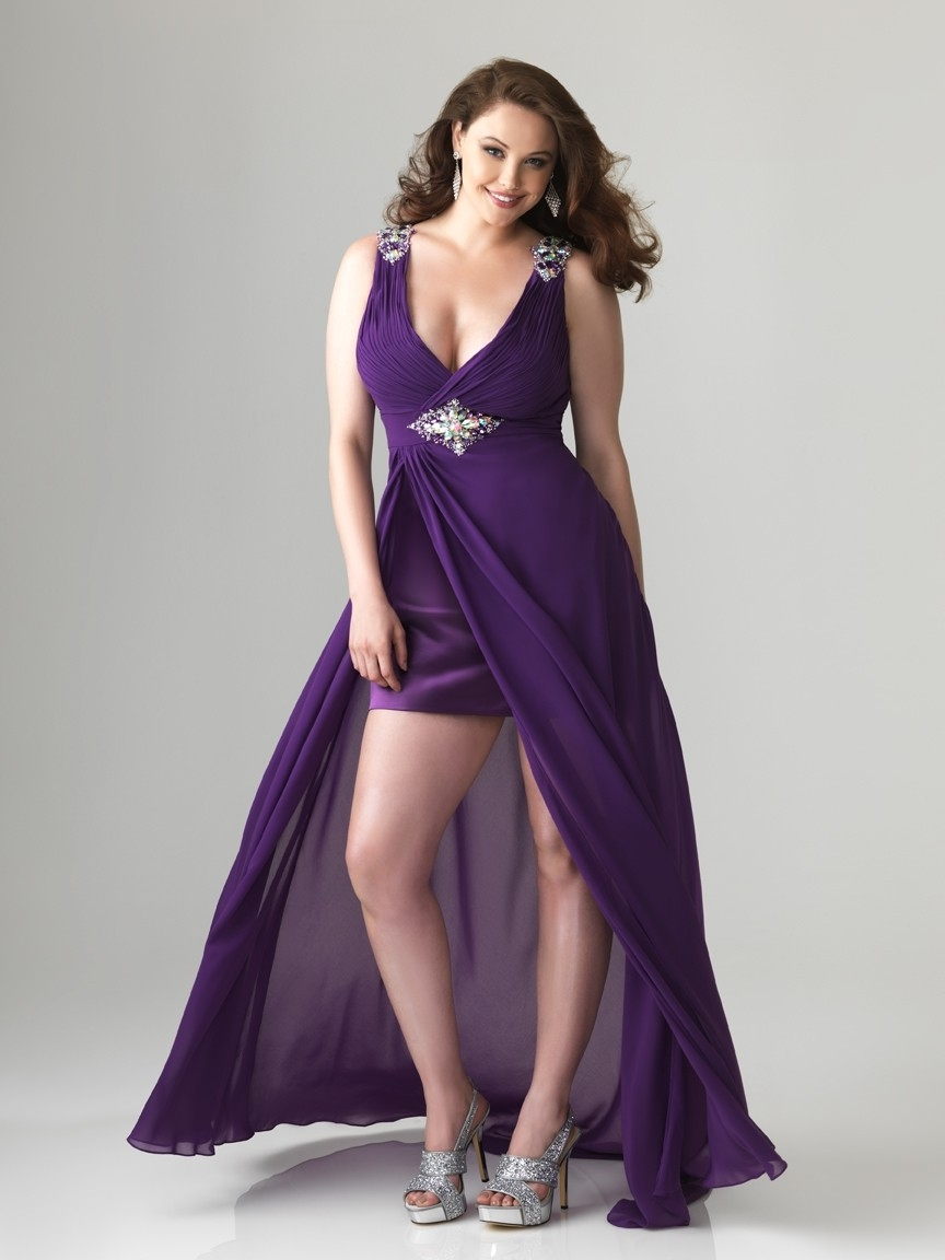Plus size high low dresses dressed up girl for Purple plus size dresses for weddings
