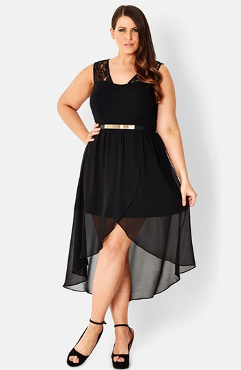 Plus Size Black High Low Dress