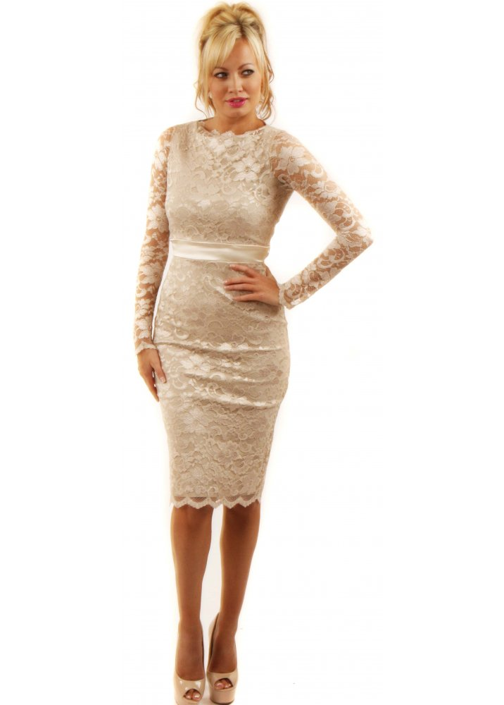 Champagne lace dress dressed up girl for Pencil dress for wedding