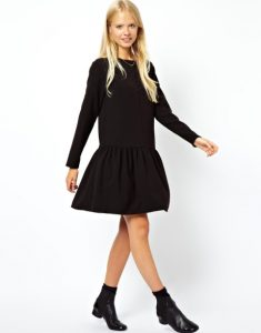 Long Sleeve Black Drop Waist Dress