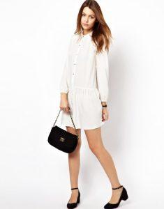 Long Sleeve White Drop Waist Dress