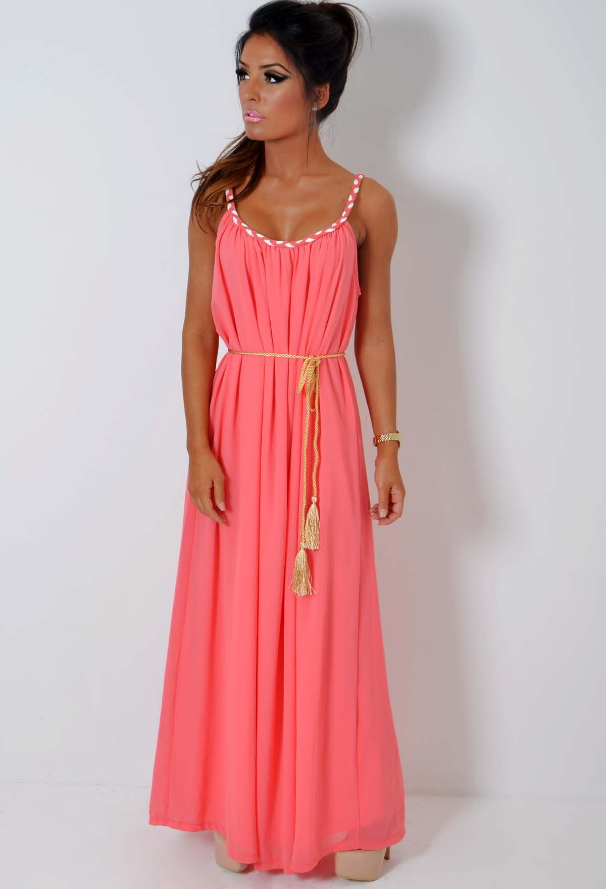 Coral Maxi Dress  Dressed Up Girl