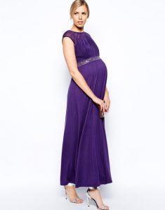 Purple Maternity Maxi Dress