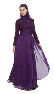 Purple Maxi Dress with Sleeves