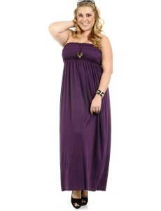 Purple Strapless Maxi Dress