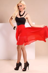 Red and Black High Low Dress