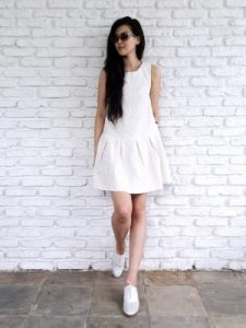 Sleeveless White Drop Waist Dress