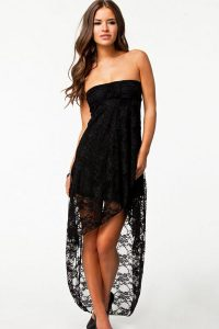 Strapless Black High Low Dress