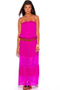 Strapless Drop Waist Maxi Dress