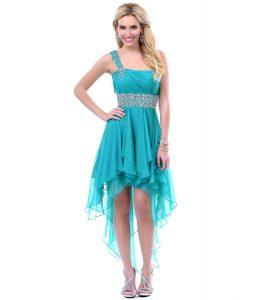 Teal High Low Bridesmaid Dresses