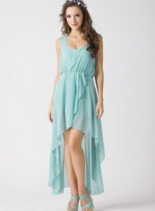 Teal High Low Dress