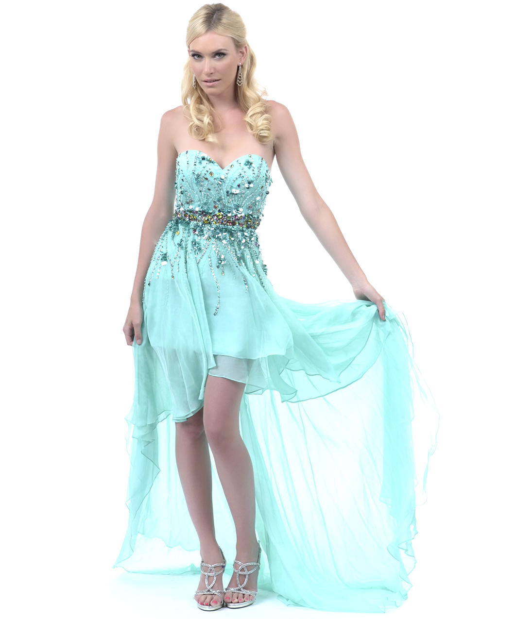 Teal High Low Dress   Dressed Up Girl