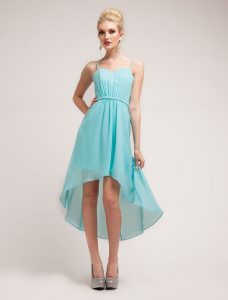 Teal High Low Dress with Straps