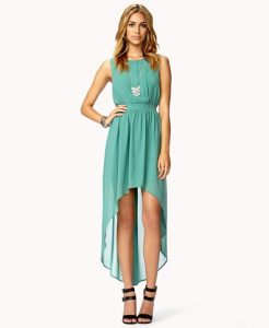 Teal High Low Dresses